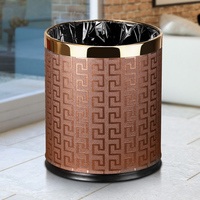 Metal Trash Can Home Office Wastebaskets , Double Layer 10L 14L Open Top Round Gabarage Can for Bathroom Kitchen Hotel Waste Bin