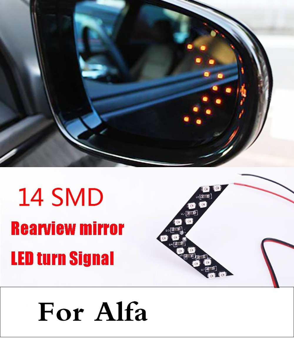 все цены на  car styling 2017 14SMD LED Arrow Panel Car Side Mirror Indicator Turn Signal Light For Alfa Romeo 147 156 159 166 4C 8C Brera  онлайн