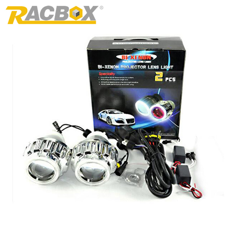 RACBOX 35W 2.8inch HID Bi Xenon Projector Lens Light LHD H1 H4 H7 6000K White CCFL Angel Eyes 6000K Xenon Bulb For Car Headlight zt01 2 5 35w 3000lm 4300k hid angle eyes projector lens car xenon light silver pairs