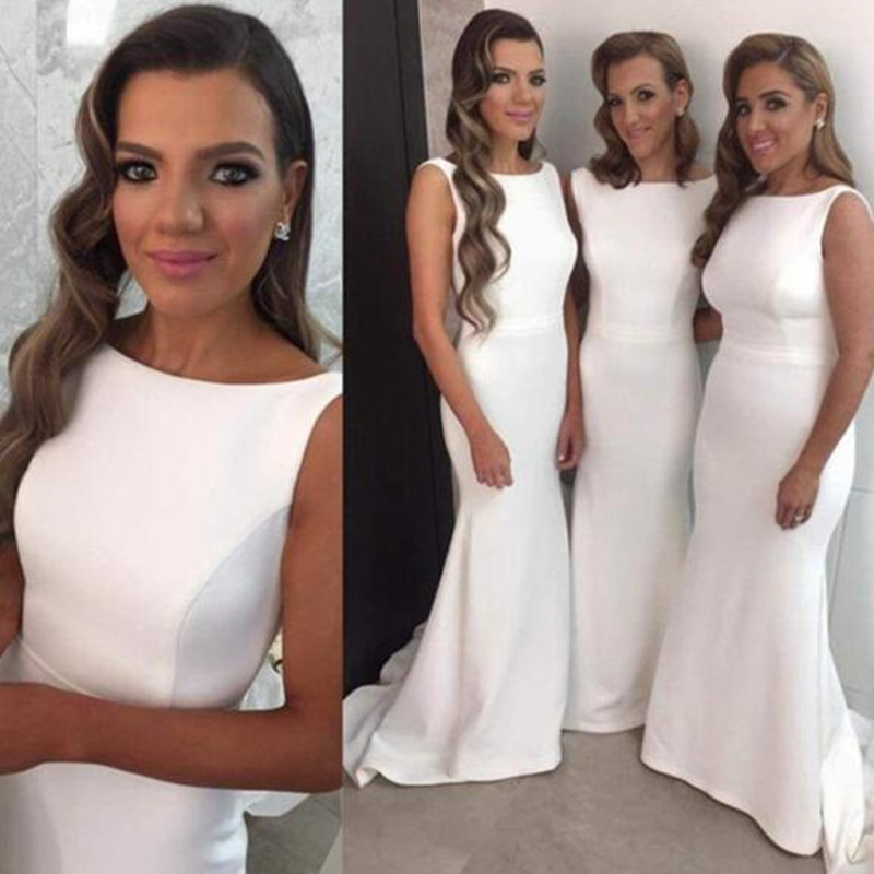 2016 New Arrival Unique Pure White Stain Scoop Mermaid Fashion font b Bridesmaid b font font
