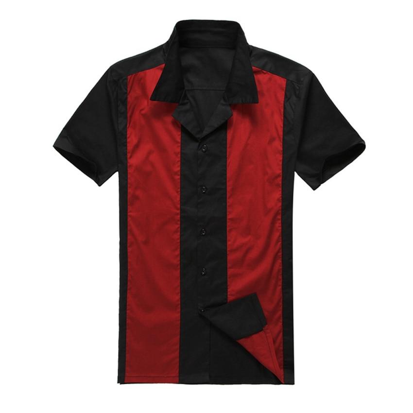 2019 새로운 짧은 소매 단추 collared 검은 색 빨간색 - 남성 의류 - 사진 3