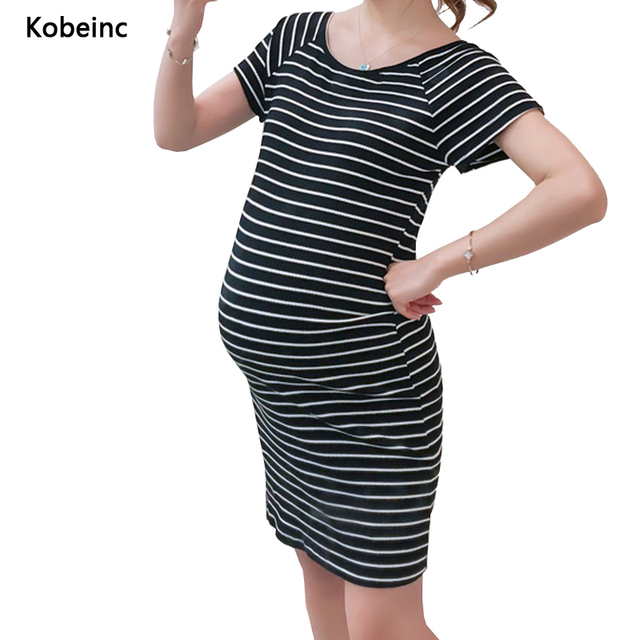 Brief Striped Maternity Dress 2017 Summer Short-Sleeved Elastic Long Tees Round Neck Pregnancy Vestidos Hamile Giyim 3 Colors