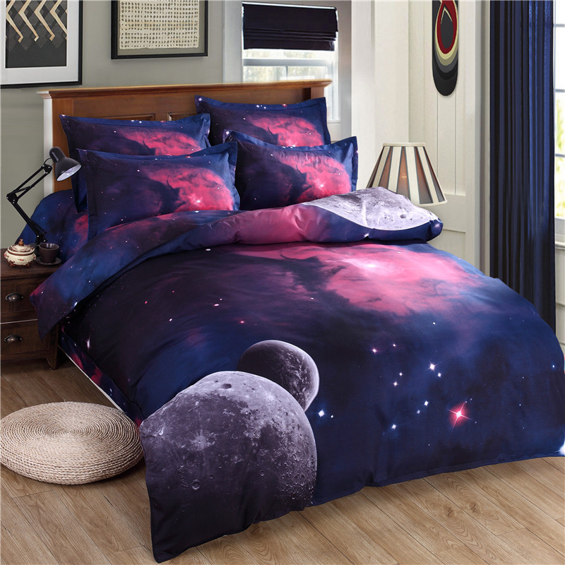2017 New Arrive Duvet cover Bed Sheet 4pcs Galaxy 3D Bedding Sets Universe Outer Space Fitted Bed Sheet pillowcase Twin Queen