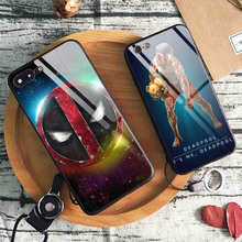 Deadpool 2 MCU Luxury Glossy Tempered Glass Soft Silicone Phone Case Shell Cover For Apple iPhone 6 6s 7 8 Plus X XR XS MAX