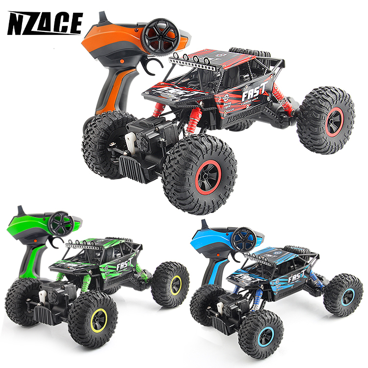 NZACE RC Car 4WD 2.4GHz Rock Robots Rally climbing Car 1:18 Double Engines Bigfoot Car Remote Control Model Off-Road Vehicle Toy