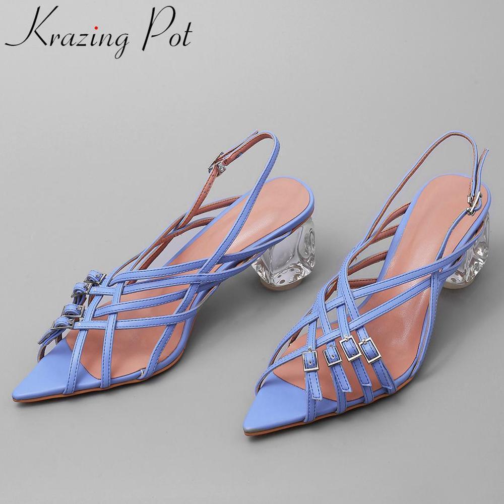 Krazing Pot Model Style Buckle Strap Sexy Nightclub Superstars Crystal High Heels Peep Pointed Toe Fashion Runway Sandals L36