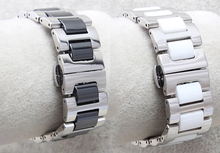 Watch band 18mm 20mm New High quality Stainless Steel and Ceramics Watch Bands Bracelets Double Push Watch buckle bracelets
