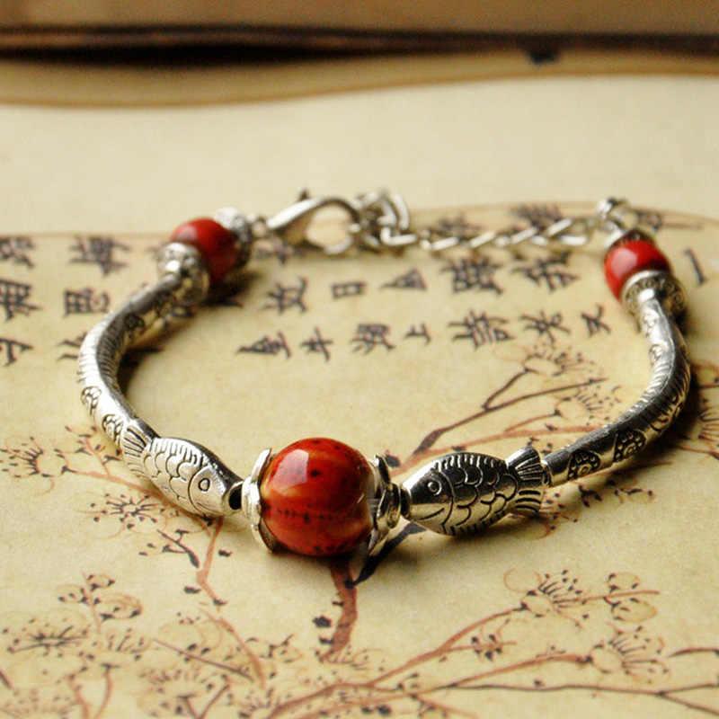 Бронзовая Рыба Strand браслет керамические бусины серебряный цвет цветок Шарм Браслеты Ювелирные изделия регулируемый браслет на запястье для женщин и мужчин