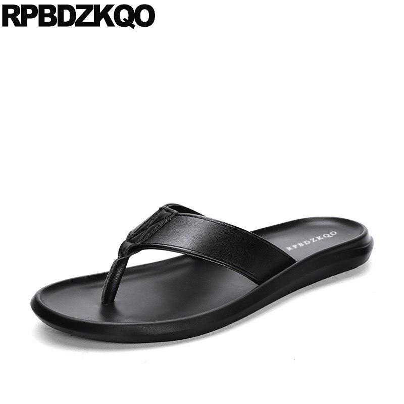 Diapositive pattini del progettista degli uomini di alta qualità nero a strisce di marca famosa nativo pistoni di estate genuino sandali di cuoio di vibrazione flop morbido