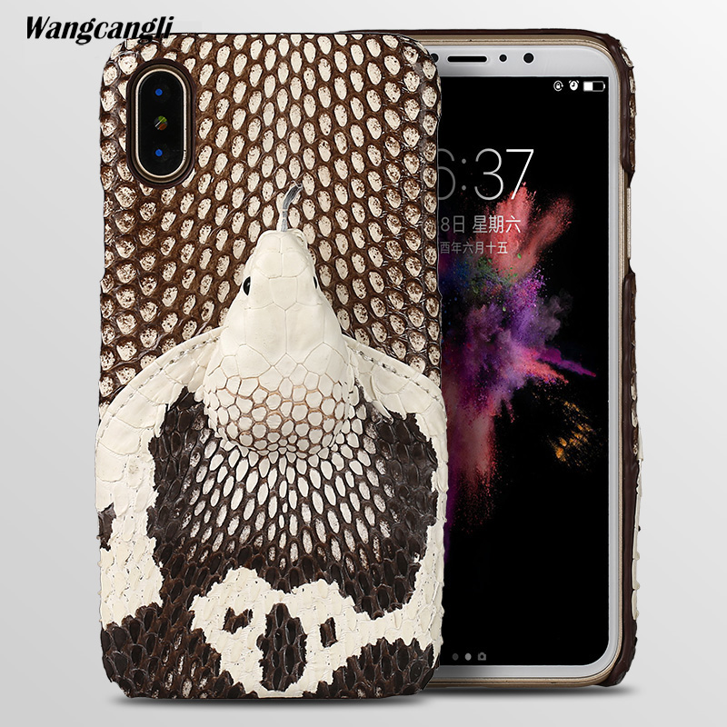 wangcangli Brand genuine snake skin phone case For iphone 8 back cover protective leather