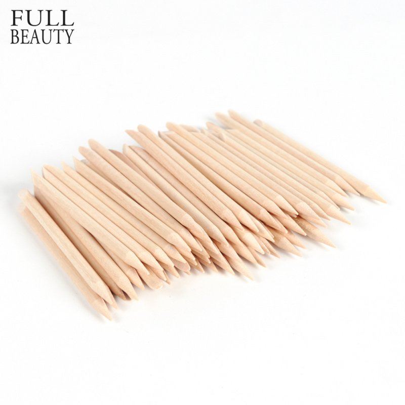 Full Beauty 100pcs Wood Stick Cuticle Remover Orange Dual-ended Nail Art Designs For Manicure Pedicure Pusher Nail Tools CH709-1