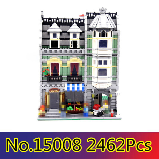 CX 15008 2462Pcs Model building kits Compatible with Lego 10185 City Street Green Grocer 3D Bricks figure toys for children lepin 15008 2462pcs city street green grocer model building kits blocks bricks compatible educational toys 10185