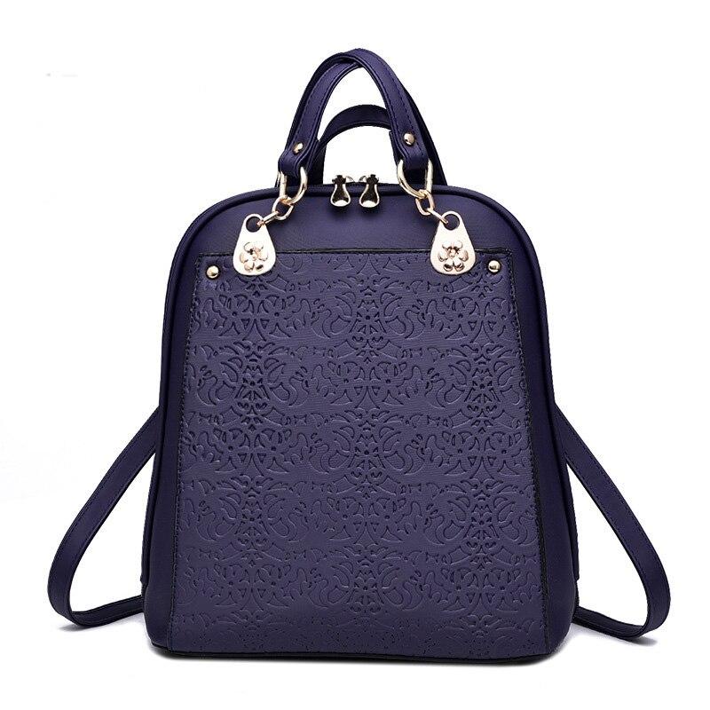 Raged Sheep Women PU Leather Backpacks Ladies Embossed Elegant School Bag Pack For Teenager Girls Female