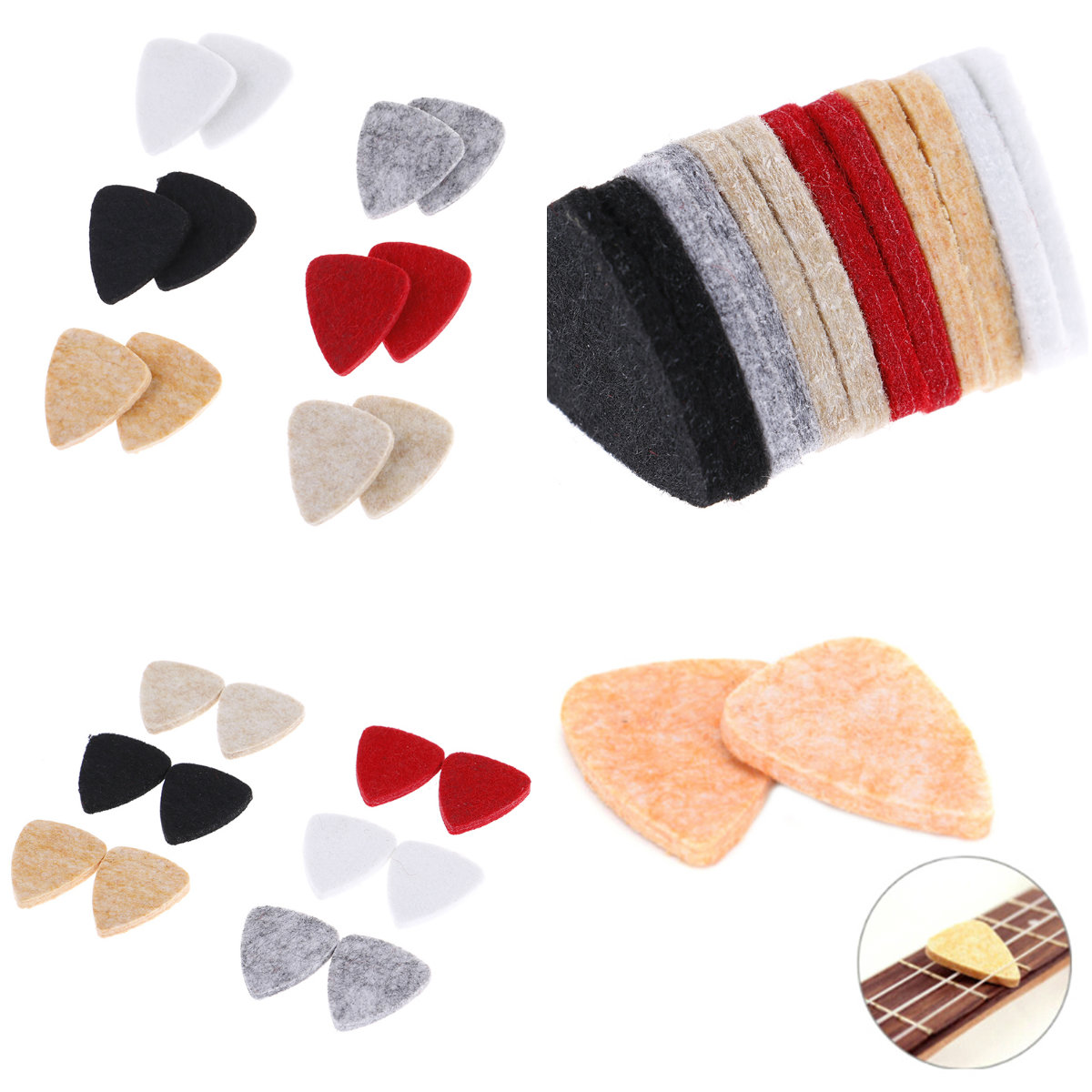 2Pcs  31mm * 26mm Ukulele Soft Felt Picks Plectrum Personalized Ukelele Accessories Useful