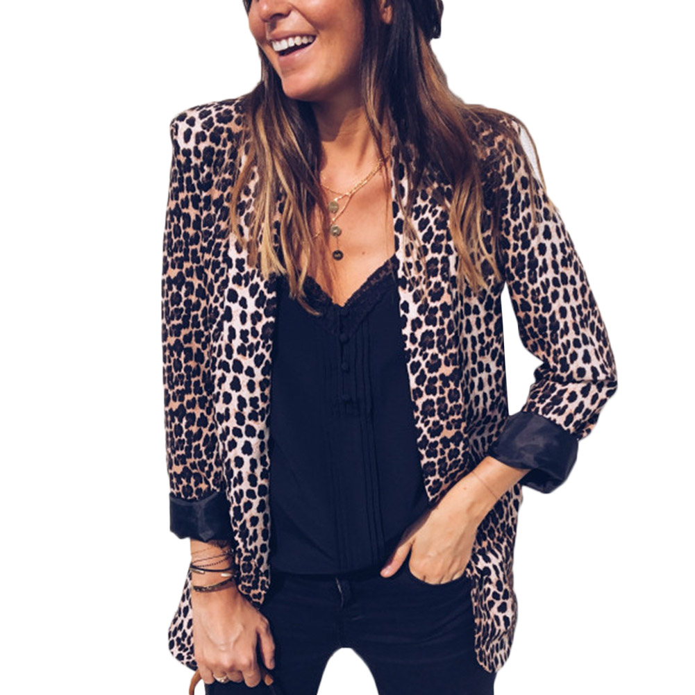 Womens Leopard Blazers Fashion Notched 2018 New Fashion Big Size Long Sleeves Leopard Casual Blazer Ol Jacket Coats Dress Tops