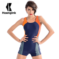 2017Plus Size M XXXL Women Professional One Piece Swimsuit Sports Race Swimwear Bodysuit Female Monokini Boxer