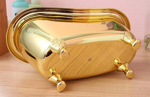 Aliexpress.com : Buy Bathroom Storage Box Basket Bathtub Shape Gold ...
