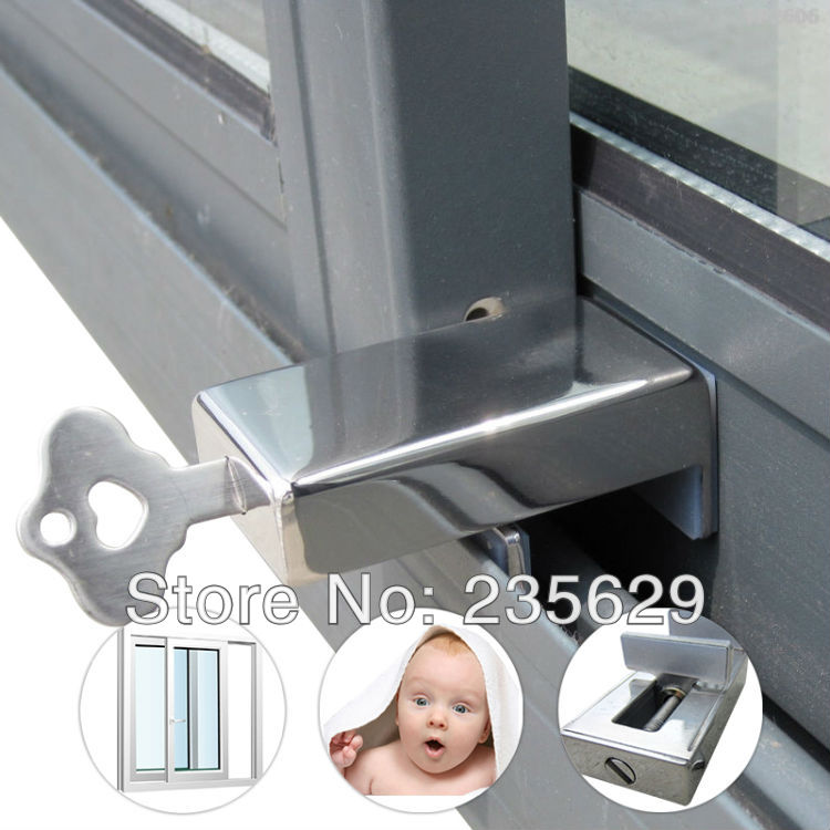 Free Shipping, Safe lock For Aluminum & Vinyl Sliding Window & door, security lock,safety lock Protect the child and Anti-theft smiley face door window children safety lock band 2 pack set