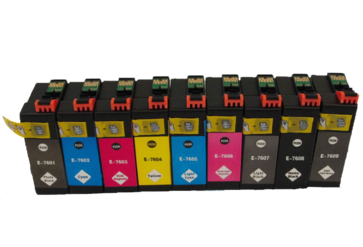 ФОТО 1Set For Epson T7601-T7609 Compatible Ink Cartridge For Epson SURECOLOR SC-P600 Printer