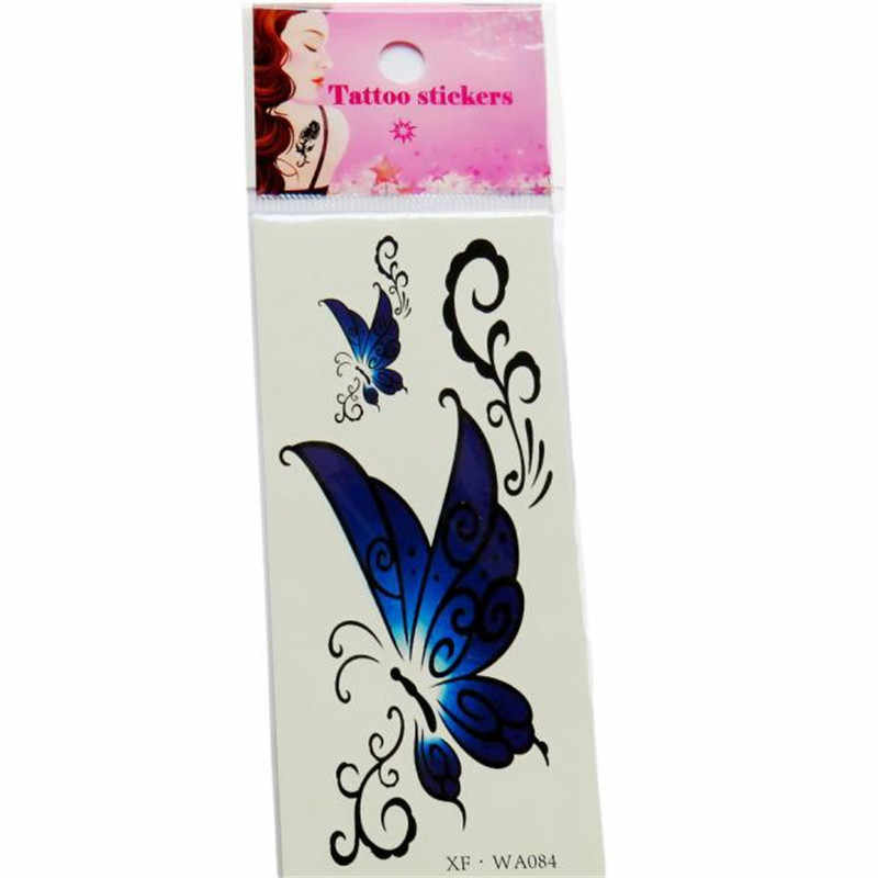2017 NEW 1PC Waterproof Temporary Tattoos 3D Butterfly Flower Fake Tattoos Sticker Halloween Lotus Swallows Love Heart Style