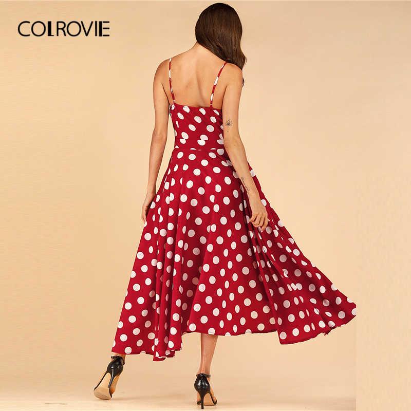 COLROVIE Бордовое платье с цветочным принтом и тюльпаном на подоле для женщин 2019 летнее платье Boho без рукавов Гламурное женское платье с высокой талией
