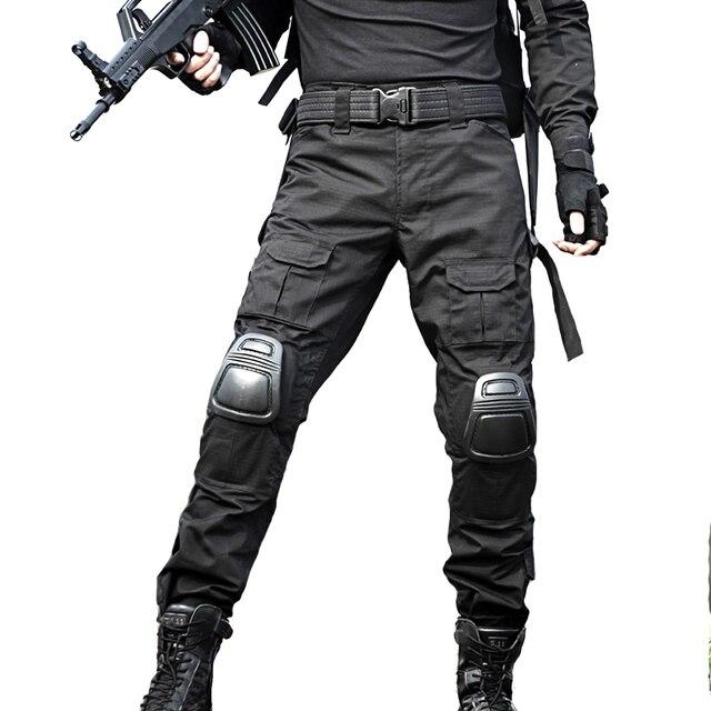 Calças de Camuflagem Militar de Carga Pantalon tático Joelheiras Homens Calças De Trabalho de Combate Calças Sapo Jogo de Guerra Do Exército SWAT Sniper Hunter