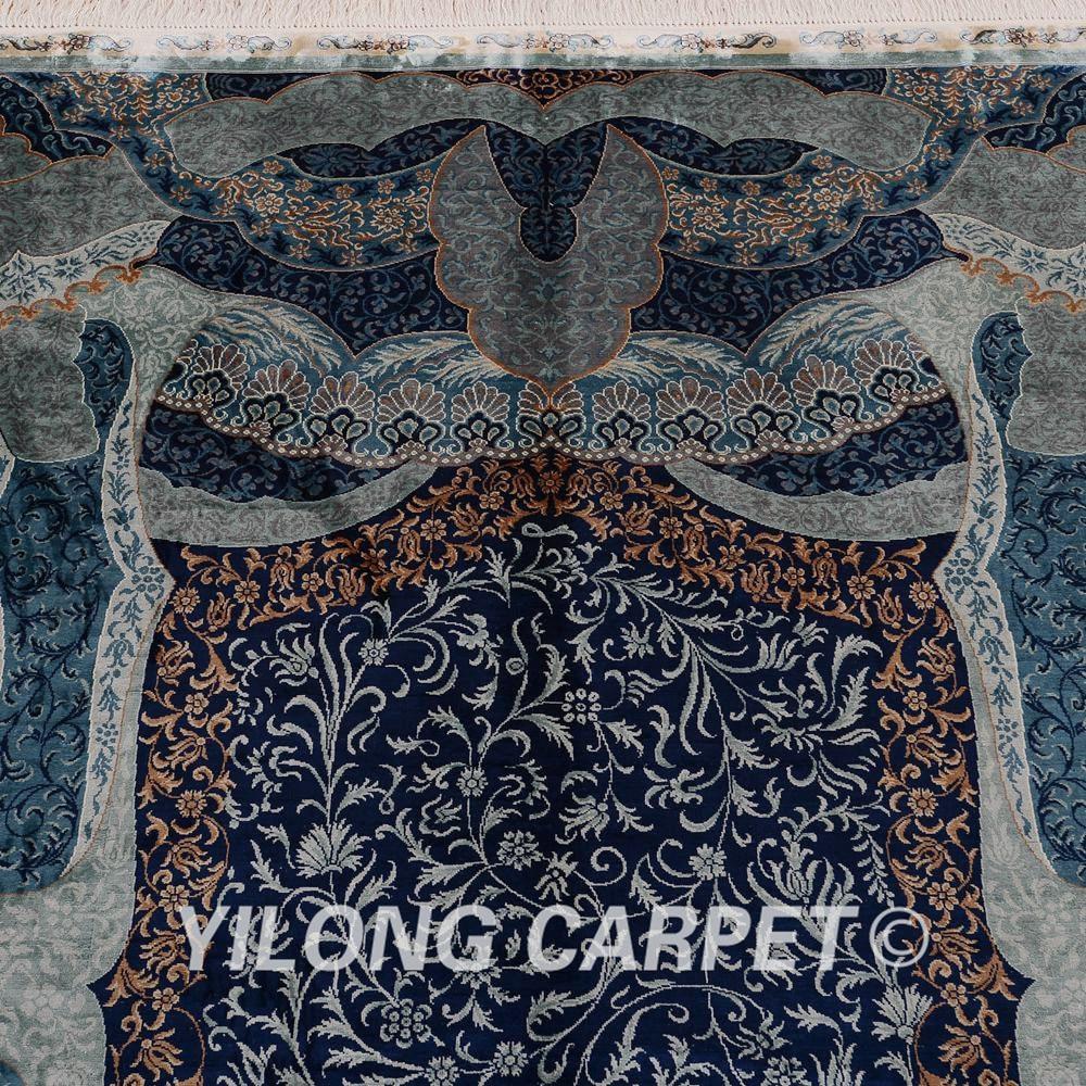 Yilong 6'x9 Turki Pola Rajutan Karpet Persia Sutra Unik Pola Biru - Tekstil rumah - Foto 5
