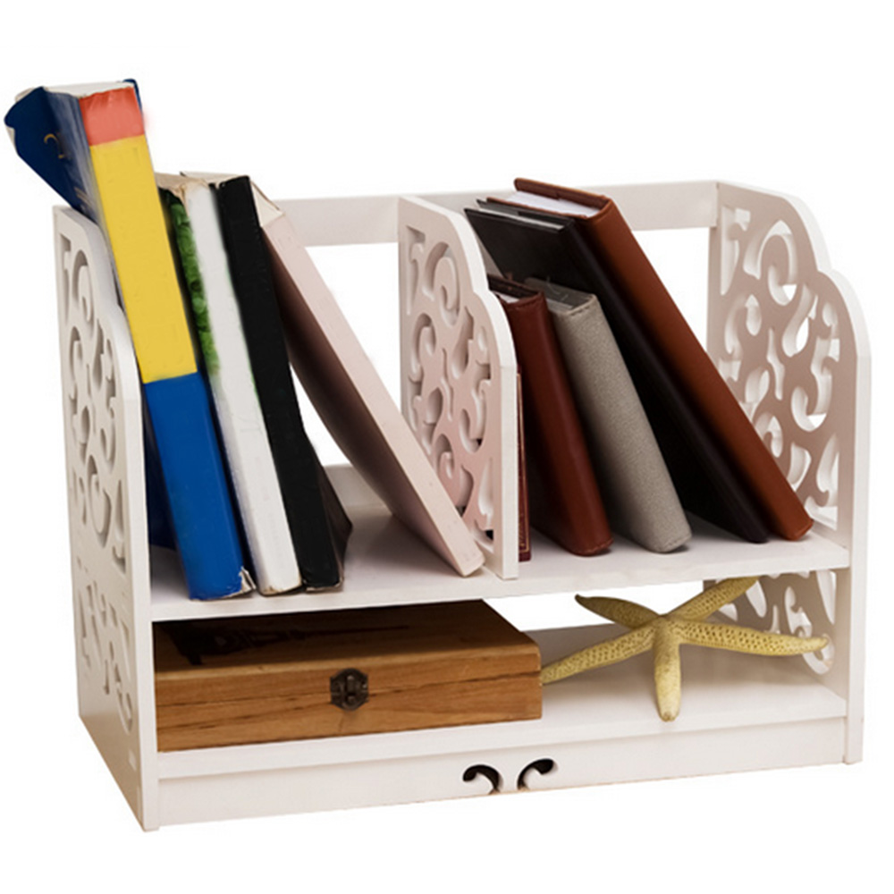 White Office Desk Organizer Openwork Freestanding Book Home Desk Stationery Storage Organizer Holder Stand Shelf Rack