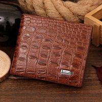 Students are brand men's wallet leather short paragraph long section Fashionable crocodile clip casual cowhide clutch bag men