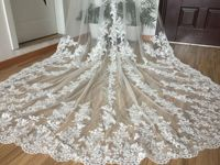 3M Cathedral Length Lace Bridal Veils White/Ivory 1Tier Luxury Wedding veil+comb