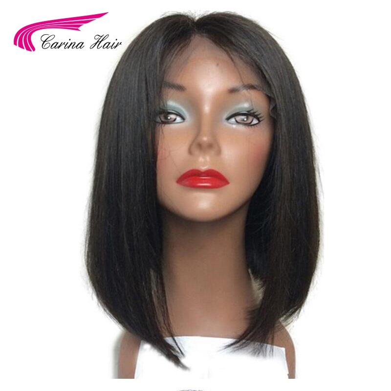 Carina Hair Malaysian Non-Remy Human Hair Full Lace Wigs Middle Part Glueless Short Bob Wigs With Baby Hair for Black Women