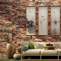 Retro Stereoscopic 3D Brick Pattern Wallpaper Waterproof Brick Wallpaper Living Room Bedroom Background Wallpaper Roll