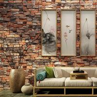 Retro Stereoscopic 3D Brick Pattern Wallpaper Waterproof Brick Wallpaper Living Room Bedroom Background Wallpaper Roll