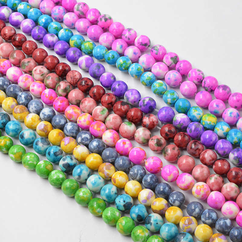 4MM 6MM 8MM 10MM 12MM Natural Blue Dots Rainbow Stones Round Spacer Loose Beads for Necklace Bracelet Charms Jewelry Making