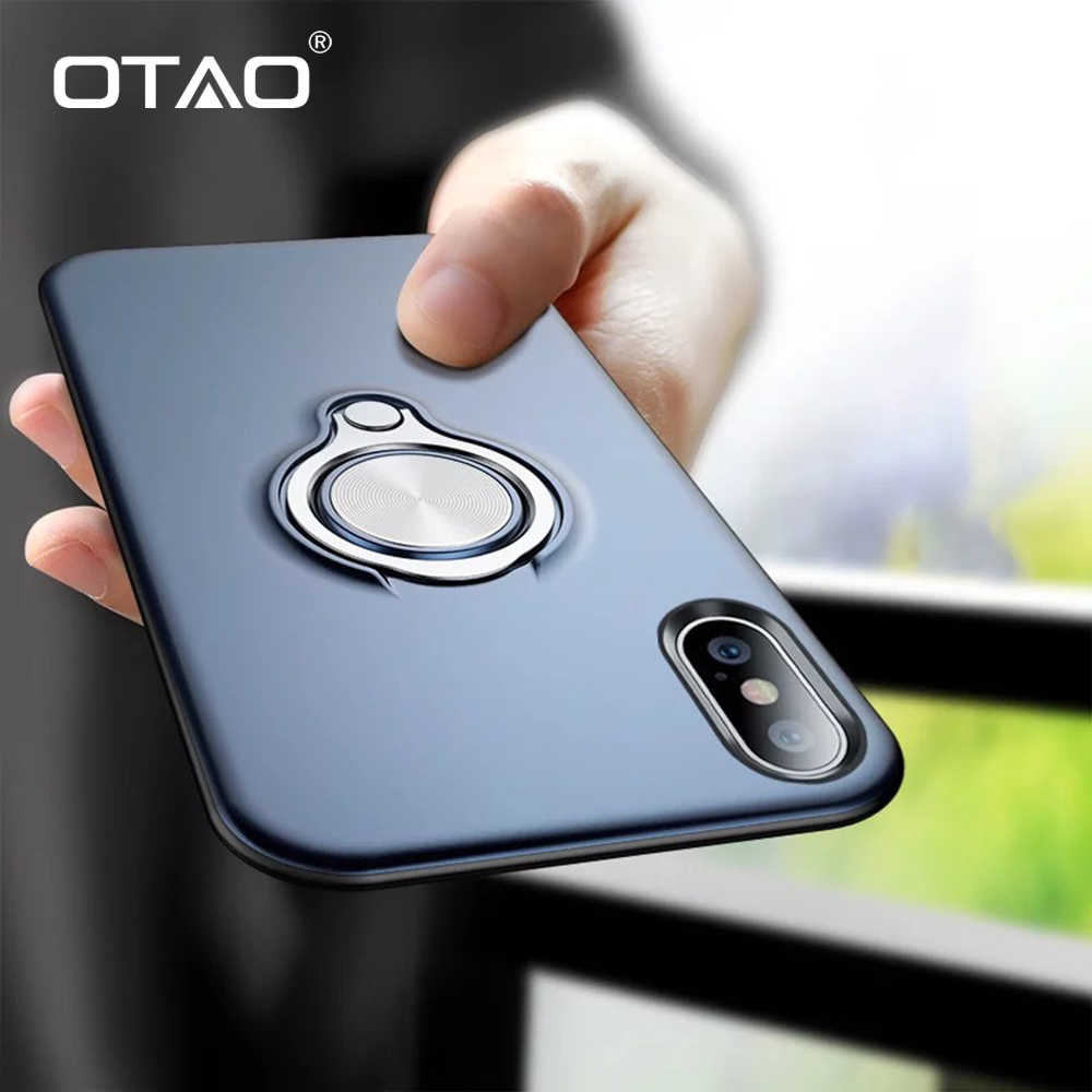 OTAO Magnetic Finger Ring Holder Phone Case For iPhone XS MAX XR X 8 7 6 6S Plus Slim Cases 360 Degree Rotation Car Holder Cover