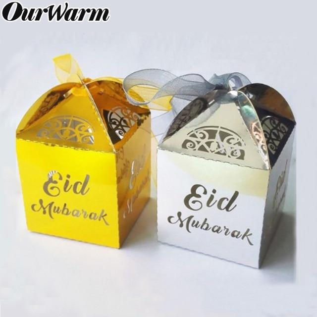 OurWarm 10pcs Gold Silver Eid Mubarak Letters Candy Gift Box Ramadan Decorations Islamic Party Happy Eid Mubarak Snacks Box