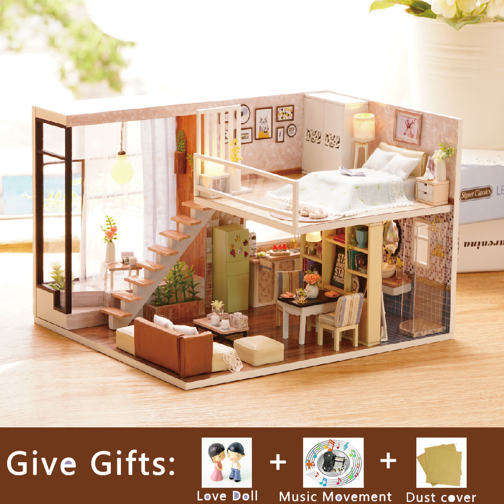 Diy Doll House Miniature Wooden Toy House Cute Room Warm House