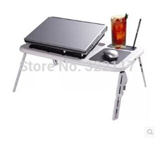 Adjustable Portable Laptop USB Folding Table Laptop Desk with 2 Cooling Fans Mouse Pad with box