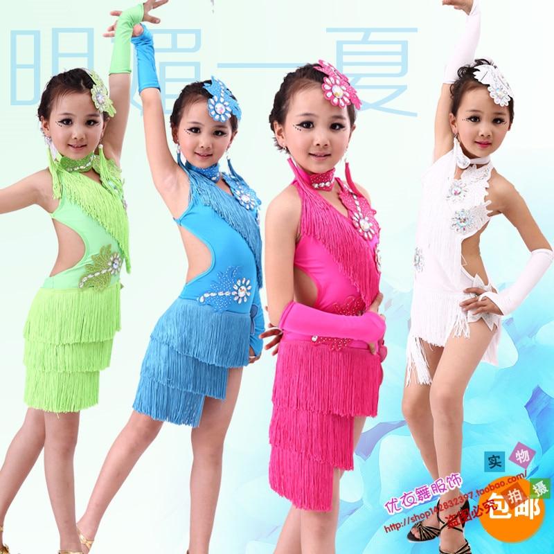 New 2017 Latin Dance Dress For Girls Fringe Dance Wear Kids Dance Costumes Practice Competition Dresses Vestido De Baile Latino