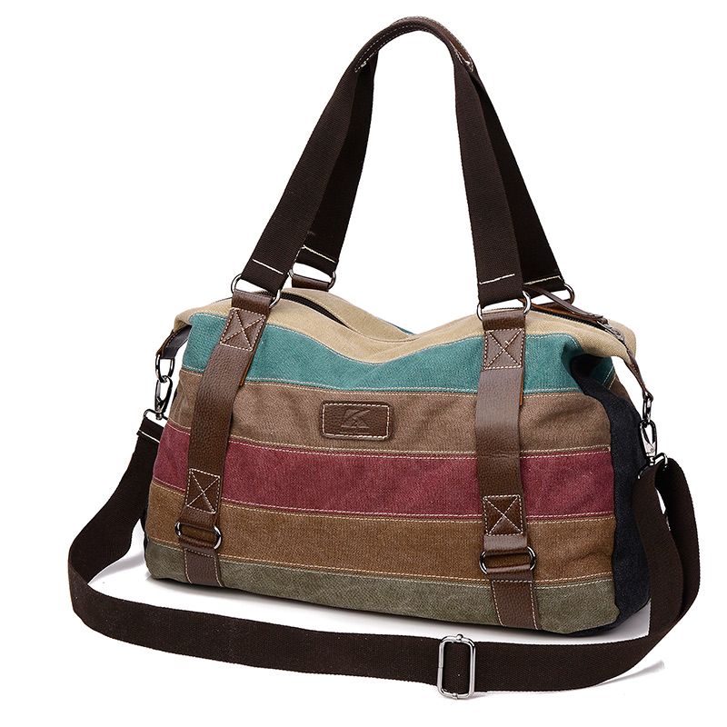 79b25a6814 2017 new women canvas bag fashion large capacity handbag striped leisure travel  shoulder bag women s shopping bag designer-in Shoulder Bags from Luggage ...