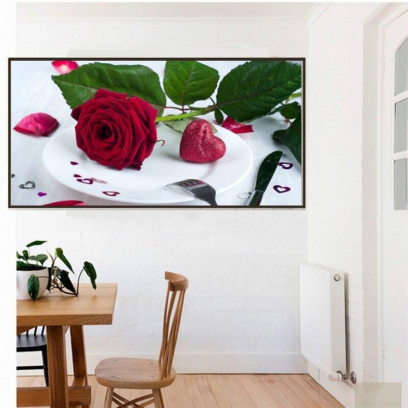 5D DIY Diamantové vyšívací růže obrázky Home Decor Plně pryskyřice kulaté drahokamu květiny malování kříž Stich