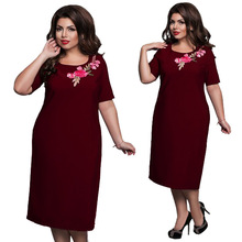 6XL Brand Fashion Summer Women's Dress Oversize Elegant Embroidery Dress Office Lady Bodycon Midi Pencil Dresses Vestidos Red 6xl oversized dress women clothing office bodycon midi pencil dress fashion square neck lace hook flower party dresses red blue