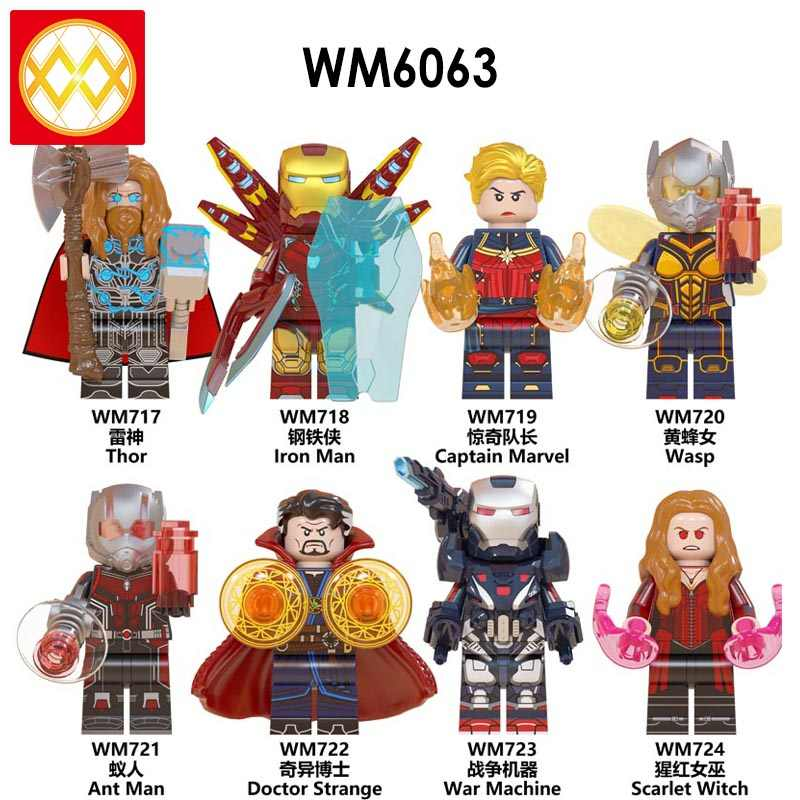 Single Captain Marvel Avengers Endgame Doctor Strange Thor Iron Man Antman Wasp Scarlet Witch War Machine Building Blcoks WM6063