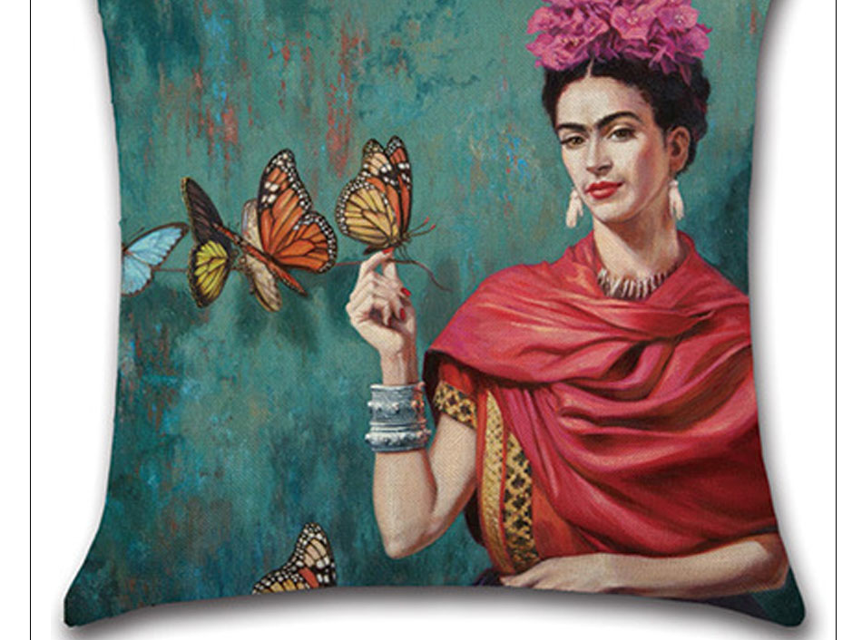 Self-portrait Pillowcase Frida Kahlo Colorful Flower Linen Pillows Square Painting Cushion Cover Sofa Bedroom Home Decorative (3)
