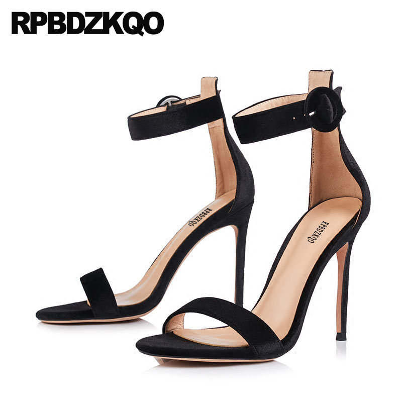 Open Toe High Heels Sandals Stiletto Runway Luxury Shoes Women Designer Burgundy Velvet Extreme Big Size Ankle Strap Pumps Black pumps gladiator suede shoes cross strap black sandals pointed toe size 33 stiletto women extreme super high heels ankle brand