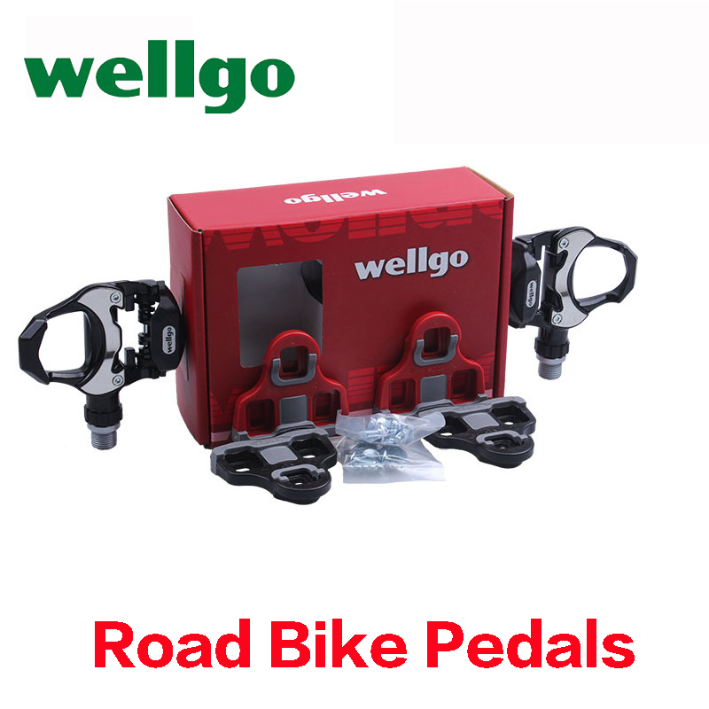 wellgo bicycle pedals clips bearings Al alloy ultralight road bike pedals cleats 2 set locking exercise