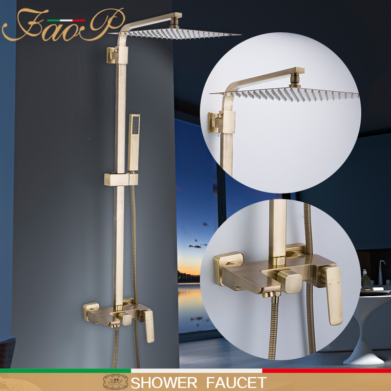 FAOP Doccia rubinetto cascata a pioggia set doccia del bagno torneira fare anheiro d'oro cascata doccia teste di Massaggio Docce