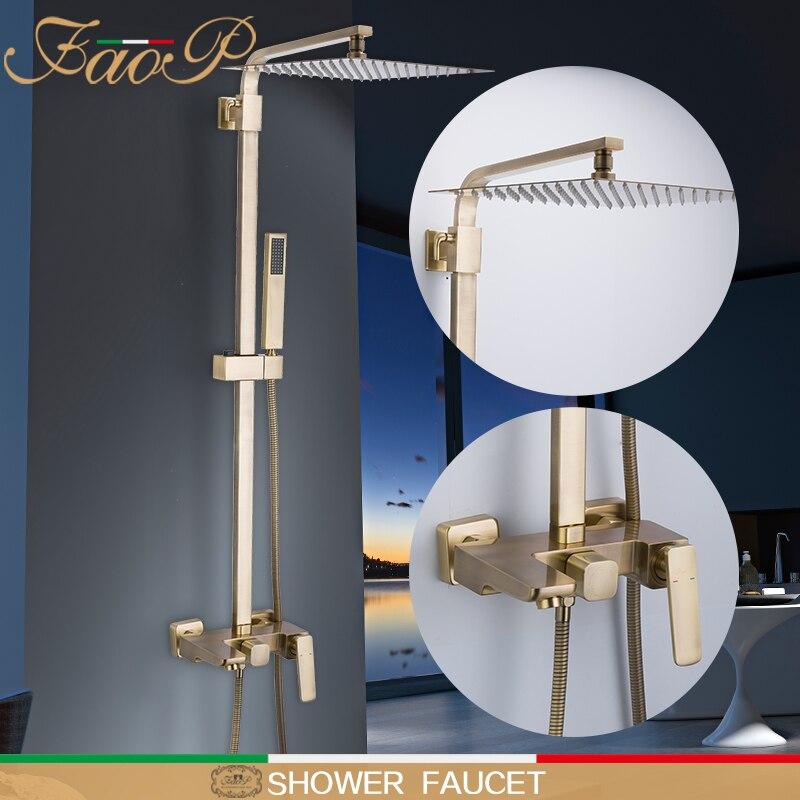 FAOP ducha grifo cascada lluvia baño ducha sets torneira do anheiro oro cascada ducha masaje duchas