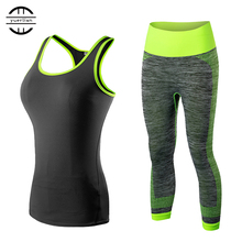 High Quality 2020 2pcs Women Sportswear Workout Tracksuit Fitness Gym Tank Top & Capri Pants Gym Clothing Black Yoga Sets