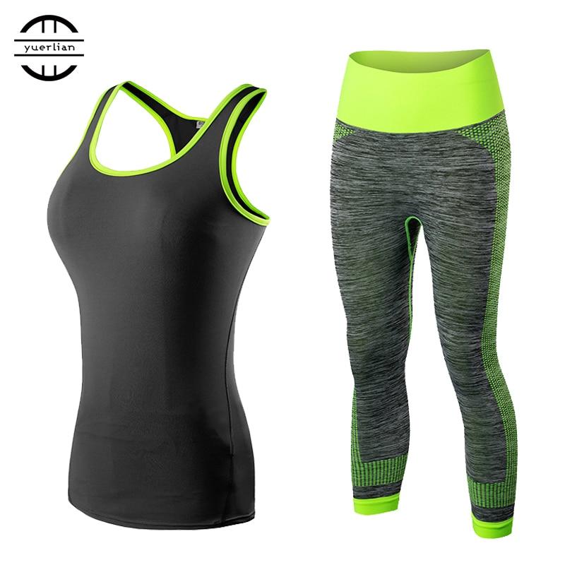 2017 YEL Yoga Sets 2pcs Women Sportswear Yoga Workout Tracksuit Fitness Gym Tank Top & Capri Pants Gym Clothing Free Shipping